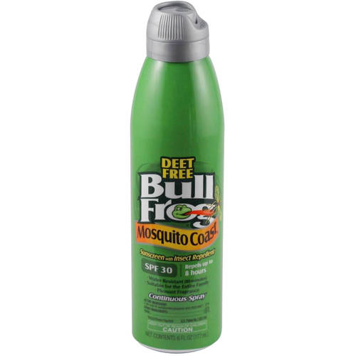 BullFrog Mosquito Coast Continuous Spray Sunscreen with Insect Repellent, SPF 30, 6 Fl Oz