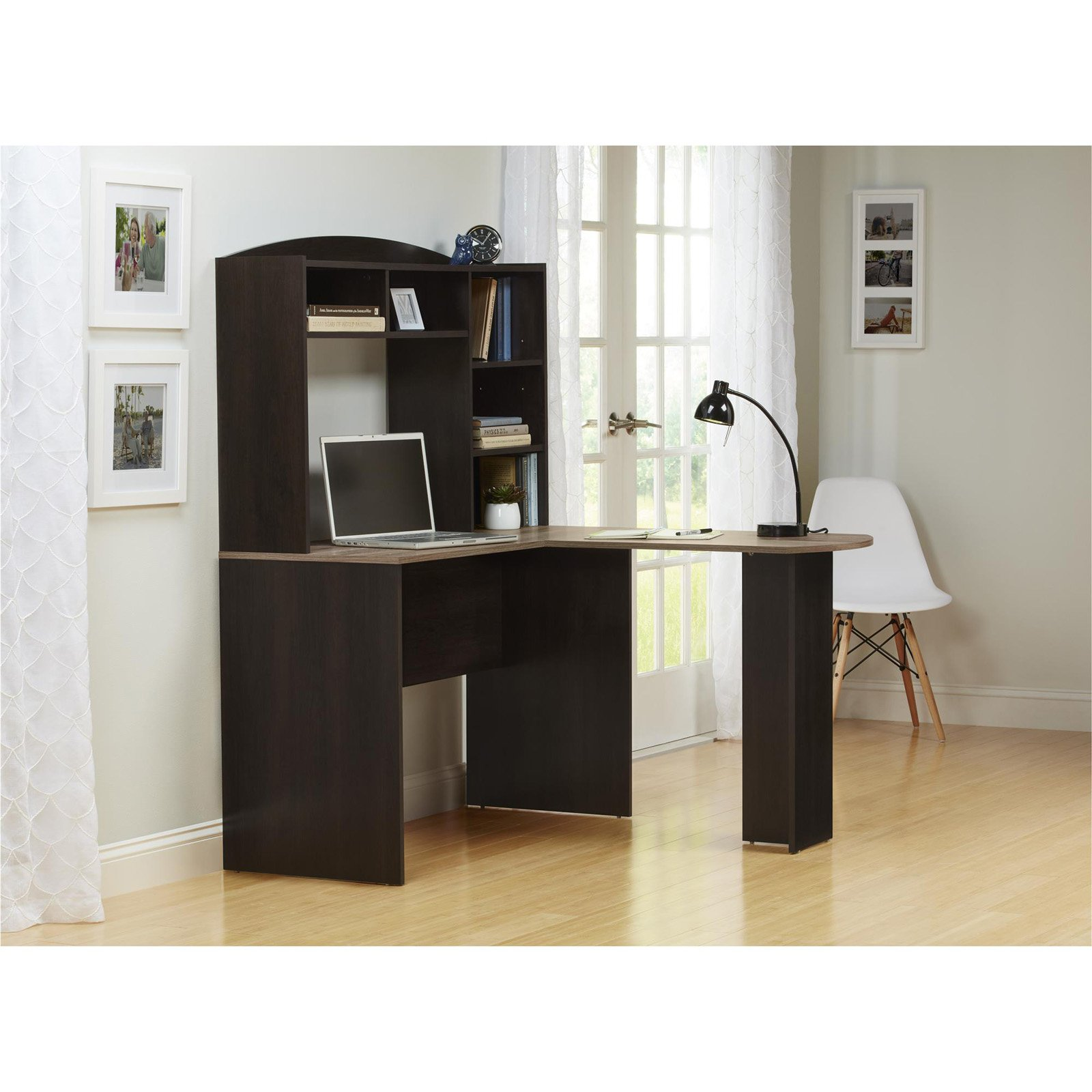 Ameriwood Home Sutton L Desk with Hutch, Weathered Oak