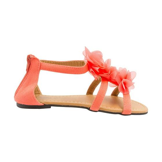 efabcc905d44 Sara Z - Sara Z Girls Double T Strap Flat Sandal with Back Zip ...