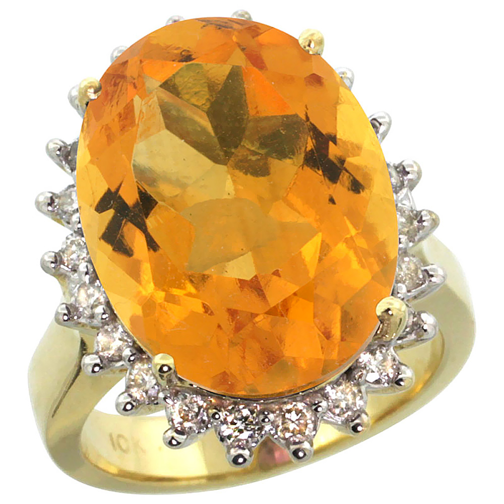 14k Yellow Gold Diamond Halo Natural Citrine Ring Large Oval 18x13mm, size 5 by Gabriella Gold