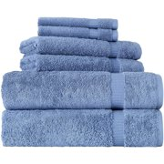 SALBAKOS Cambridge - Luxury Hotel Collection and Spa Bath Towels 100 Percent Genuine Turkish Cotton Bath Towels Made in Turkey 700gsm Eco-Friendly Bulk Save (6 Piece Set, Blue)