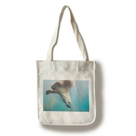 Polar Bear Swimming - Lantern Press Photography (100% Cotton Tote Bag - Reusable)