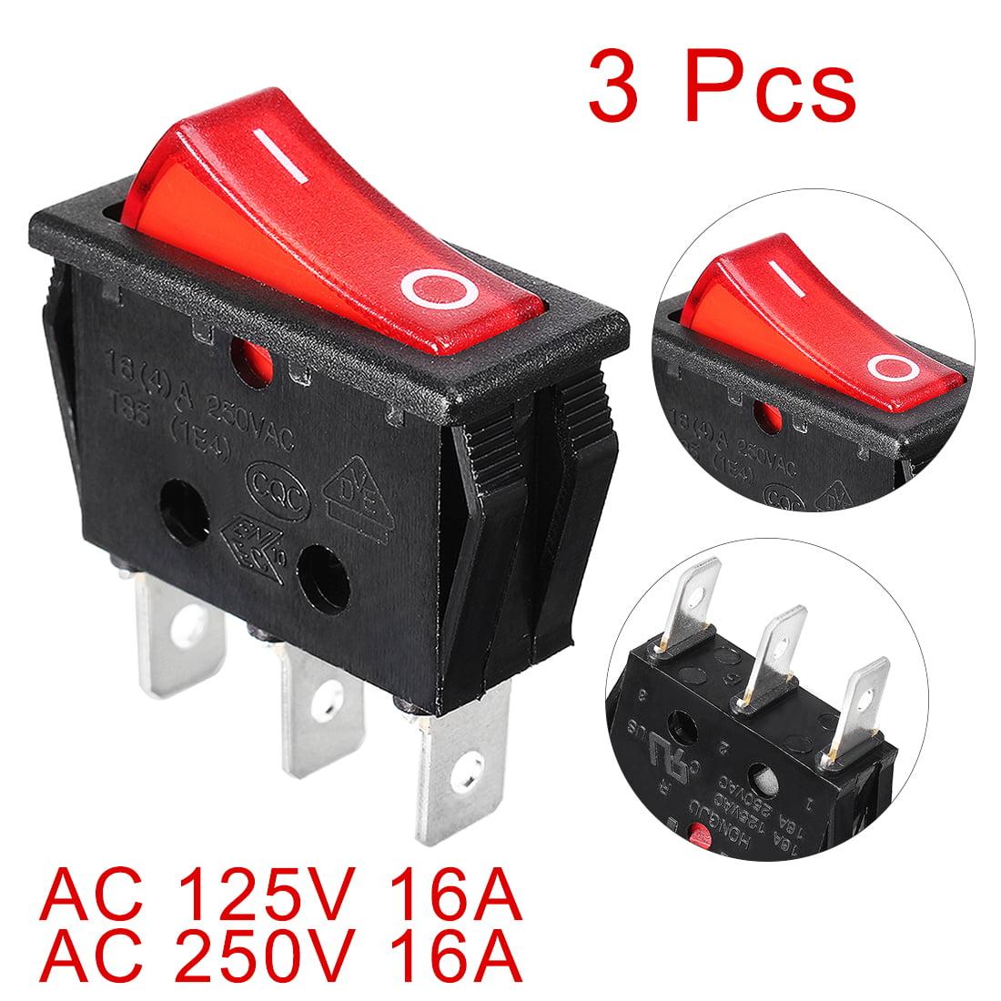 3 Pcs Red Press Button SPST 3 Terminals Boat Rocker Switch 16A 250VAC - image 5 de 7