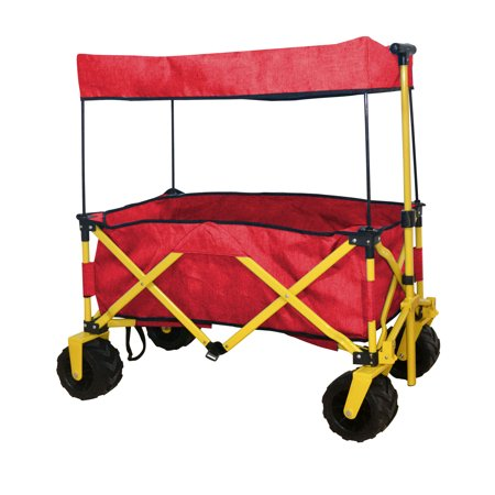 Ez Cart - RED OUTDOOR FOLDING WAGON CANOPY GARDEN UTILITY TRAVEL CART COMPACT EZ SETUP