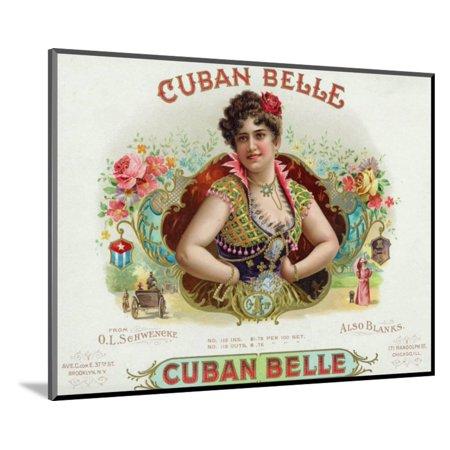 Cuban Belle Brand Cigar Box Label Wood Mounted Print Wall Art By Lantern (Belle Wall Mount Filler)