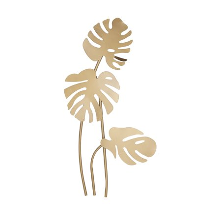 "Metal Large Leaf (CosmoLiving Large Metallic Gold Metal Palm Leaf Sculptures Wall Decor | 21"" x)"