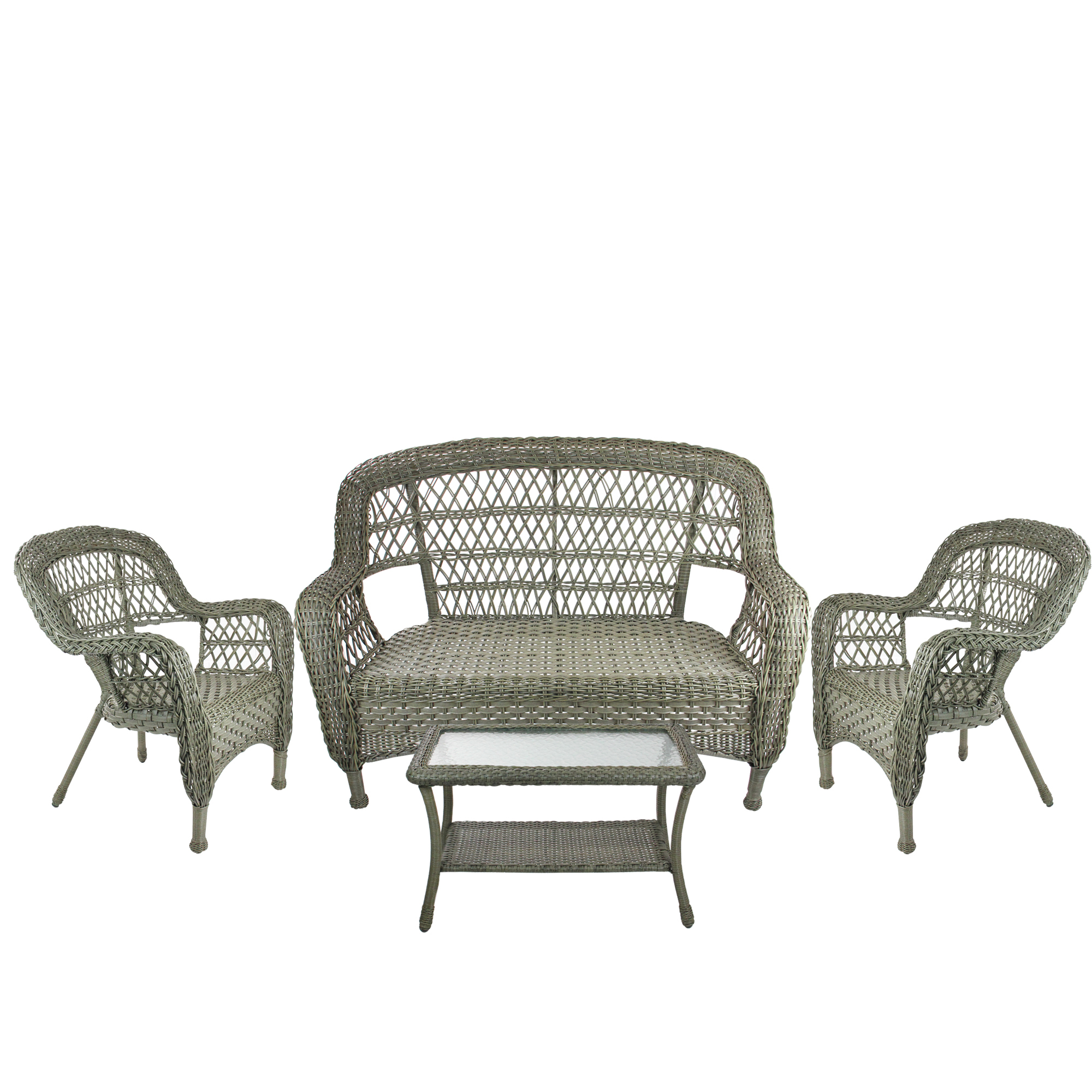4-Piece Driftwood Green Steel Resin Outdoor Patio Furniture Set - Loveseat, 2 Chairs and Table