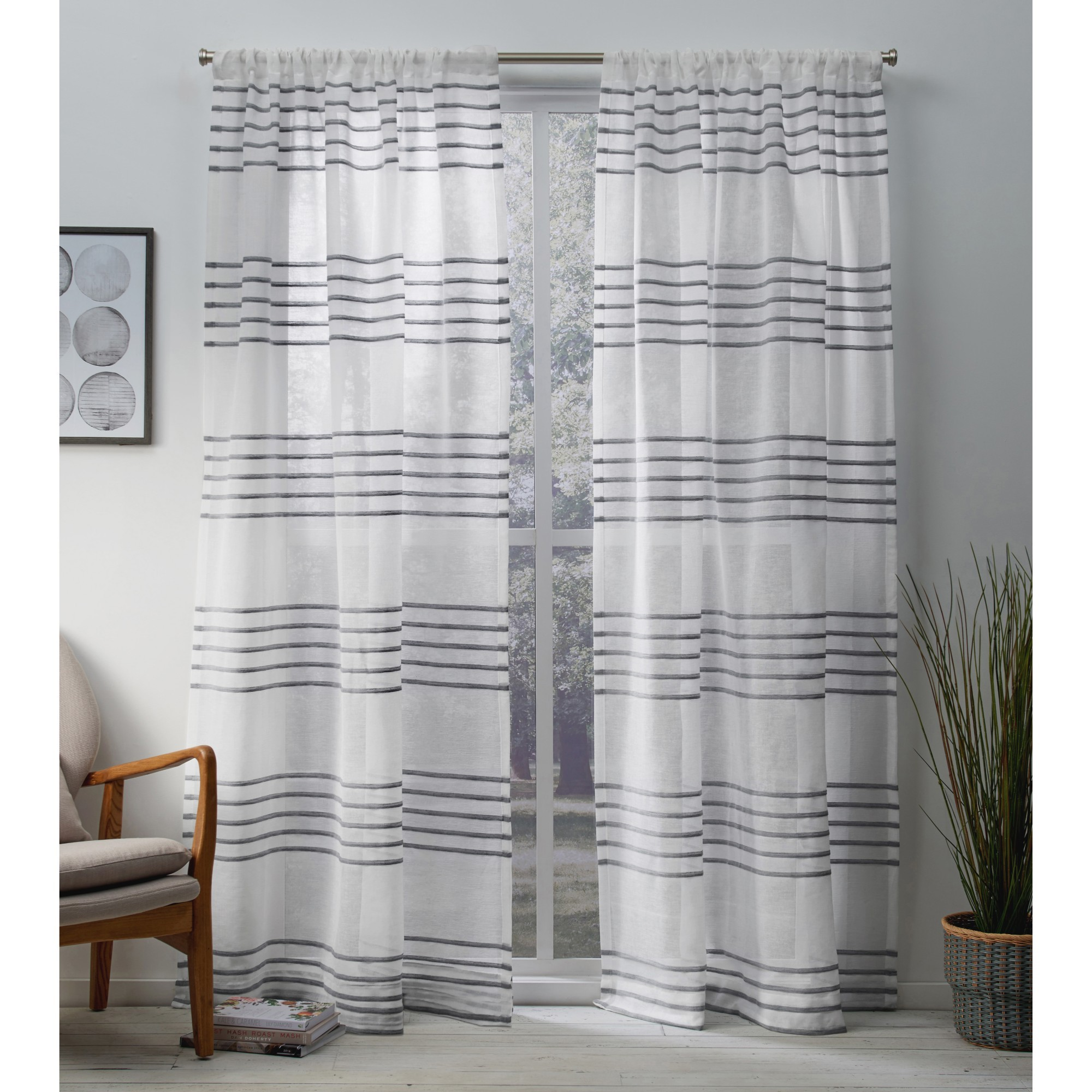 Exclusive Home Monet Pleated Sheer Linen Cabana Stripe Window Curtain Panel Pair with Rod Pocket