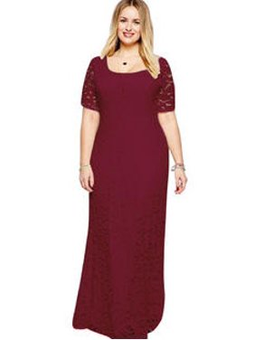 Product Image Women Back Zip Fastening Lace Long Plus Size Dress Red Wine 440db8f7e5a1