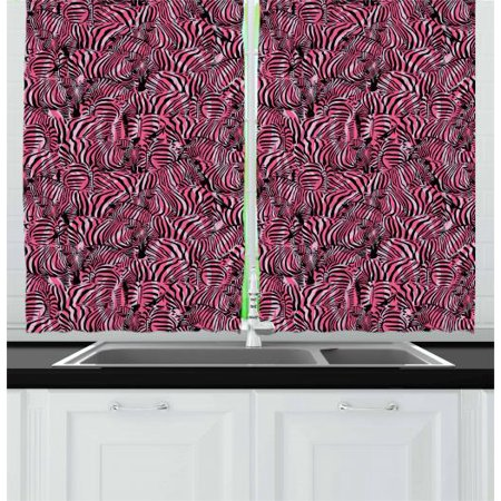 Pink Zebra Curtains 2 Panels Set, Bunch of Zebra Forming Contemporary  Primitive Pattern Illustration, Window Drapes for Living Room Bedroom, 55W  X 39L ...