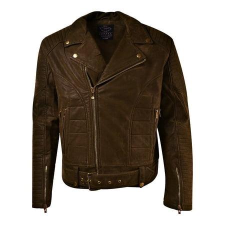 Jordan Craig Suede Biker Men's Moto Jacket Espresso Brown