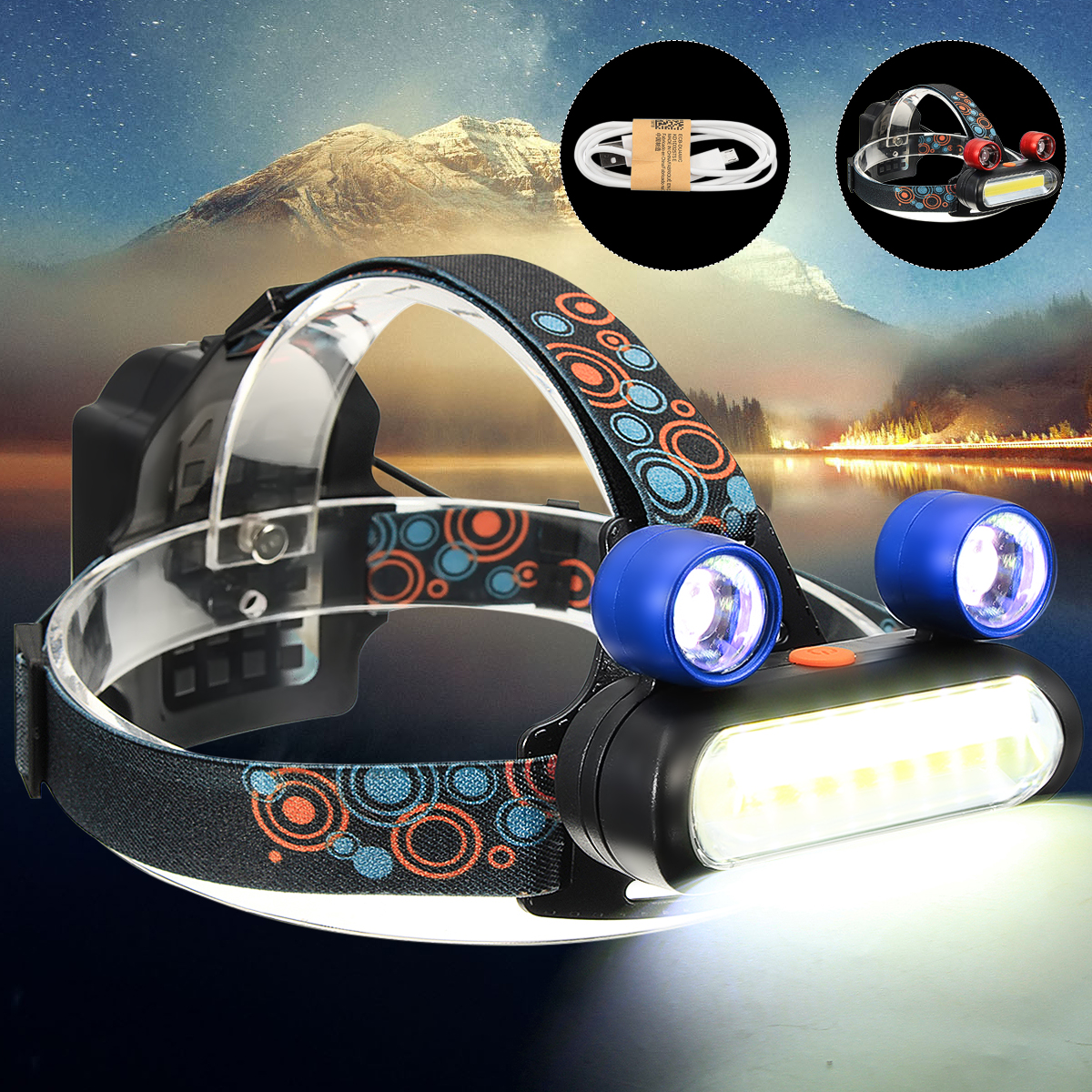 5500Lumens T6 LED USB Rechargeable Headlamp Headlight Head lamp Torch 4 Modes+ 2Pcs Battery + USB Cable