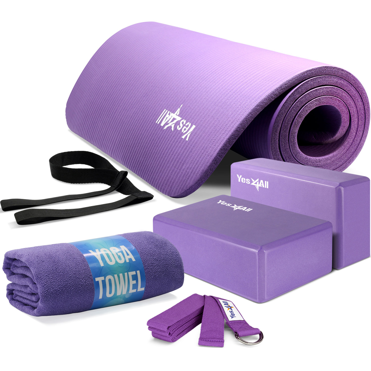 Yes4All Yoga Starter Kit, Includes NBR Exercise Yoga Mat, 2 Yoga Blocks, Yoga Strap & Yoga Towel