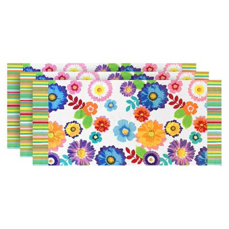 60 Inch Pack - Floral Stripes Printed Soft Beach Towel - White, 30 x 60 inches 3 PACK