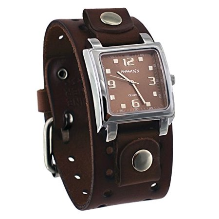 - BBB516B Men's Dark Brown Wide Leather Cuff Band Analog Brown Dial Watch