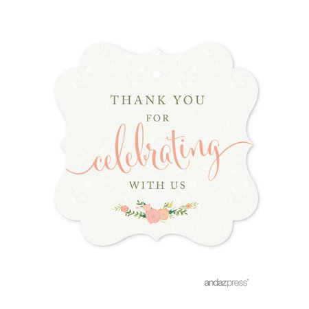 Thank You For Celebrating With Us!  Floral Roses Girl Baby Shower Fancy Frame Gift Tags, 24-Pack