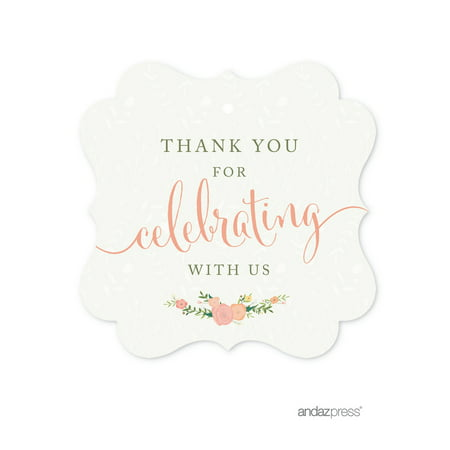 Thank You For Celebrating With Us!  Floral Roses Girl Baby Shower Fancy Frame Gift Tags, 24-Pack](Personalized Halloween Gift Tags)
