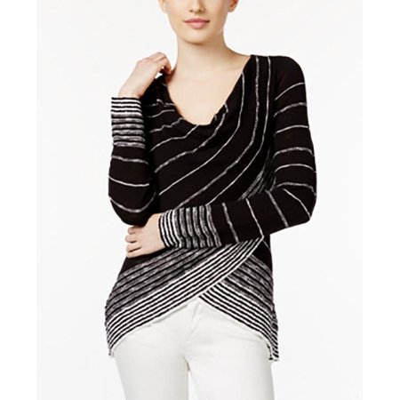 INC International Concepts Women Striped Crossover Top BLACK-WHITE X-Large