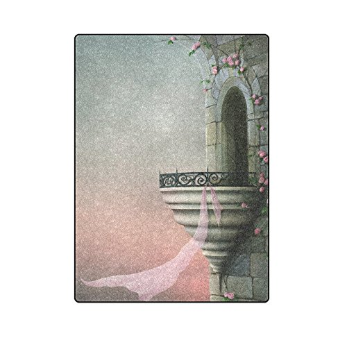 CADecor Gothic Tower Beautiful Roses And Pink Scarf Couch Sofa or Bed Fleece Blanket Throw 58x80 inches