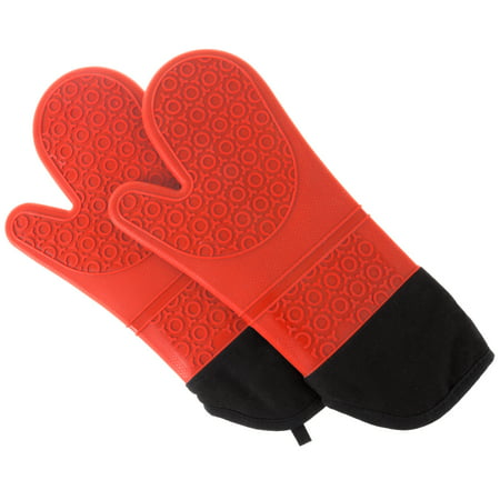 Silicone Oven Mitts – Extra Long Professional Quality Heat Resistant with Quilted Lining and 2-sided Textured Grip – 1 pair Red by Lavish Home (Chocolate Oven Mitt)
