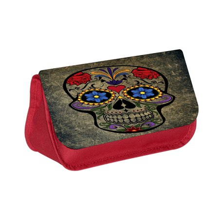 Grunge Sugar Skull - Red Cosmetic Case - Makeup Bag - with 2 Zippered - Sugar Skull Makeup