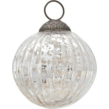Large Mercury Glass Ornament (Mona Design, 3-Inch, Silver) - Vintage-Style Decoration ()