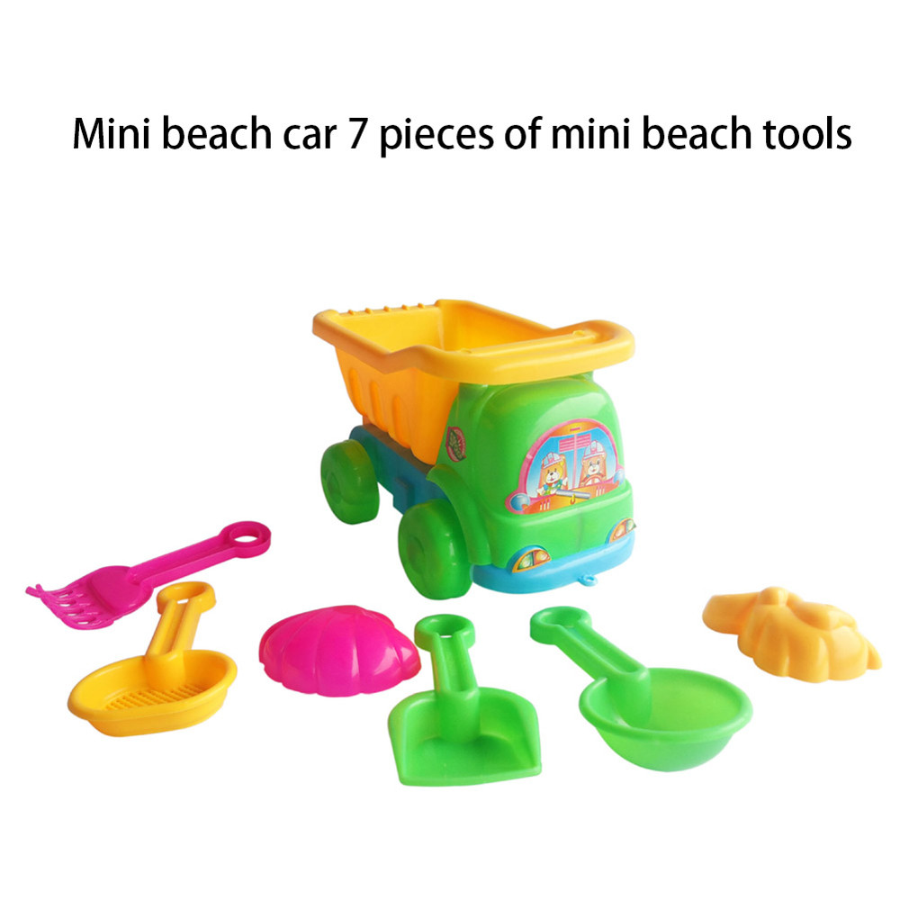 Mosunx 7Pcs Sand Sandbeach Kids Beach Toys Trolley Bucket Spade Shovel Rake Water Tools