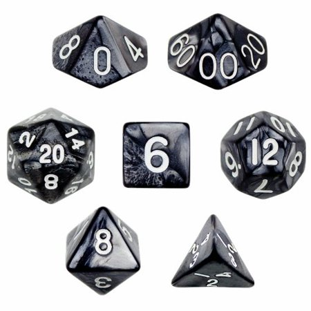 Pearl Pouch - 7 Die Polyhedral Dice Set - Smoke (Black Pearl) with Velvet Pouch By, Seven pack of Smoke (black pearl) polyhedral dice by Wiz Dice By Wiz Dice