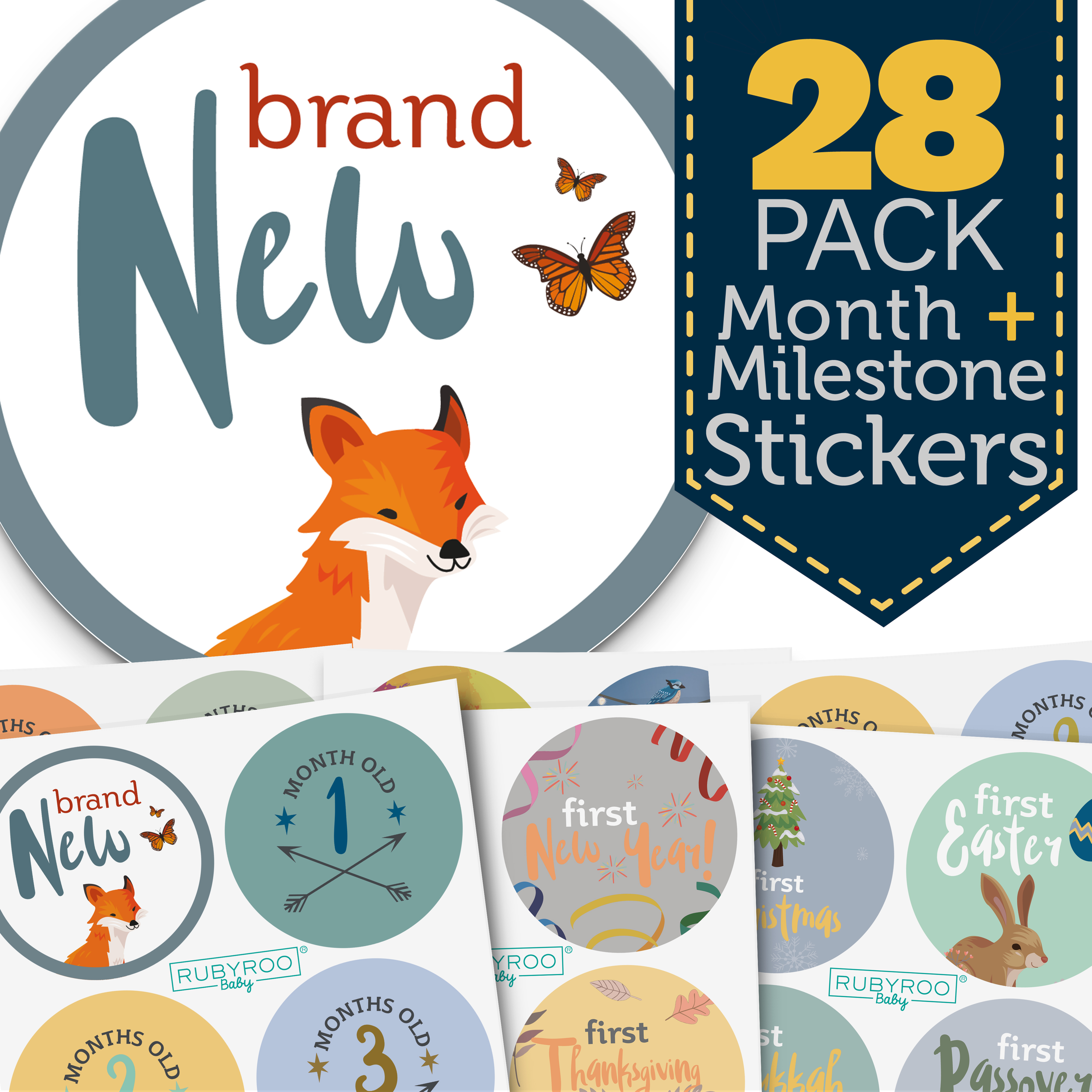 Monthly Baby Stickers - 28 Milestone Pack of Baby Boy Onesie Belly Stickers. Includes 12 months, 1st year milestones & first holidays. Perfect baby shower & newborn birthday gift. (Woodland)