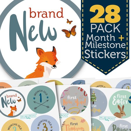 Monthly Baby Stickers - 28 Milestone Pack of Baby Boy Onesie Belly Stickers. Includes 12 months, 1st year milestones & first holidays. Perfect baby shower & newborn birthday gift. (First Year Gift)