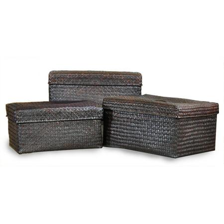 Alexa Small Nested Baskets Lid Mahogany Set of