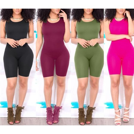 Sexy Women Casual Sleeveless Bodycon Romper Jumpsuit Club Bodysuit Short Pants ()