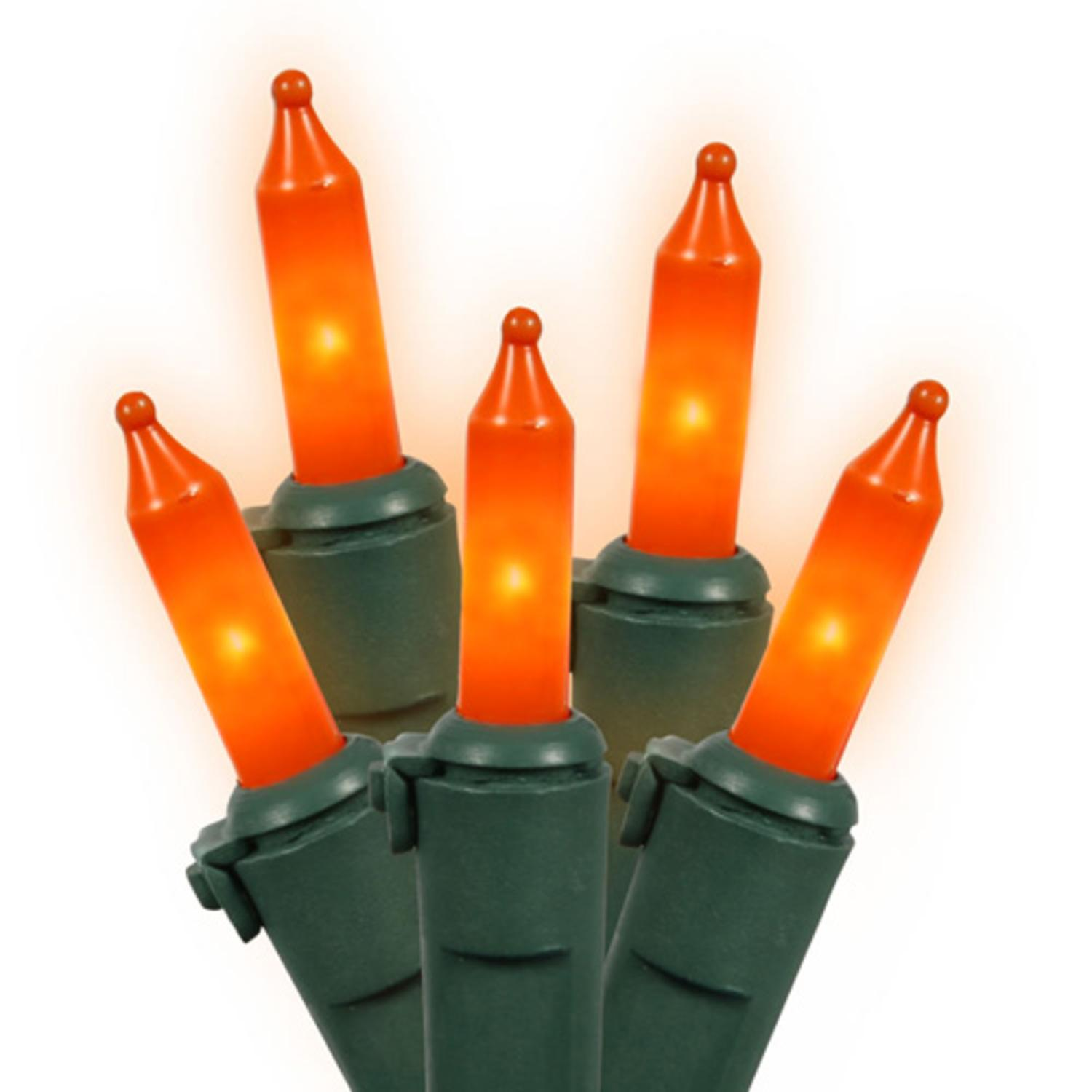 Set of 100 Opaque Orange Mini Christmas Lights - Green Wire