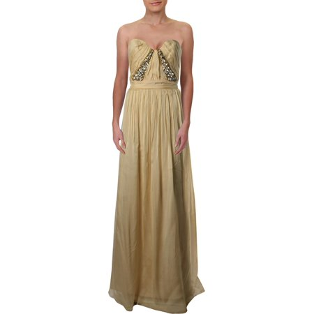 ABS Collection Womens Silk Prom Evening Dress Yellow 10