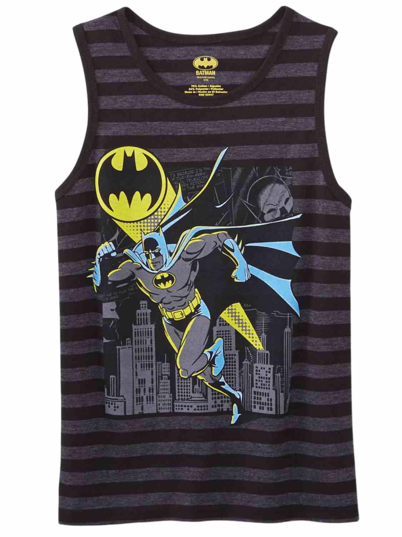 79a1270d41b28 DC - DC Comics Batman Boys Black Gray Striped Tank Top Sleeveless Shirt -  Walmart.com