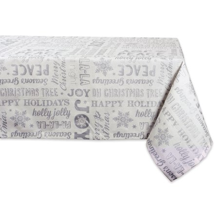 Design Imports Formal Rectangle Christmas Collage Kitchen Tablecloth, 84