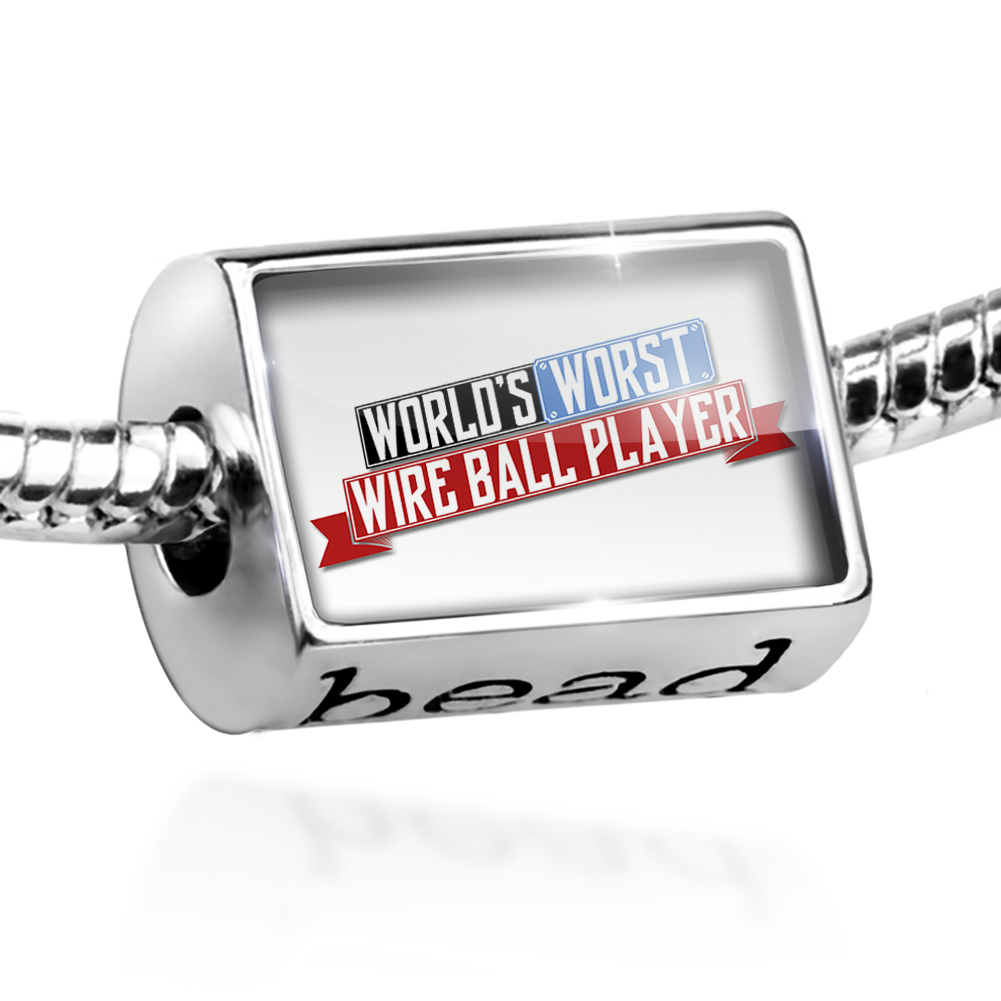 Bead Funny Worlds worst Wire Ball Player Charm Fits All European Bracelets