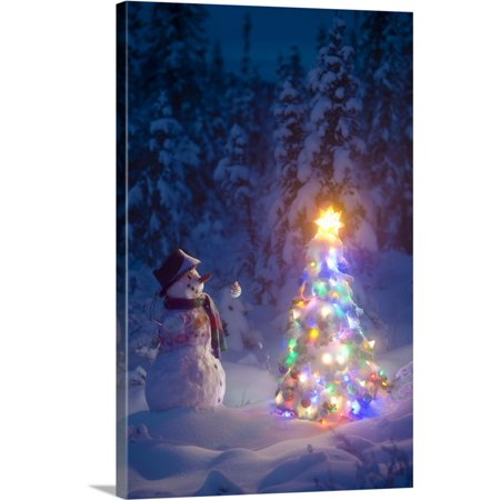 Great BIG Canvas   Kevin Smith Premium Thick-Wrap Canvas entitled Snowman stands in a snowcovered spruce forest next to a decorated
