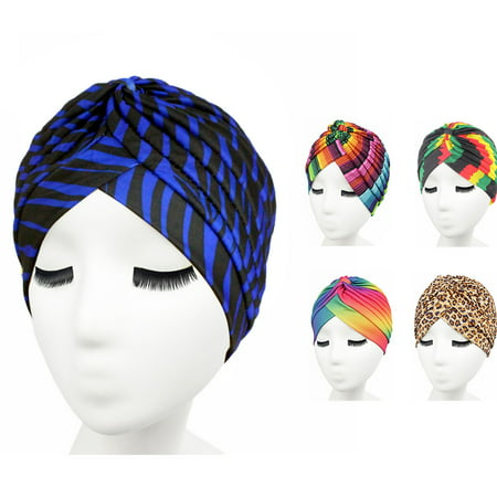 5-Piece Women Turban set, Coxeer Twisted Pleated Turbans Head Covers Multicolor Hair -