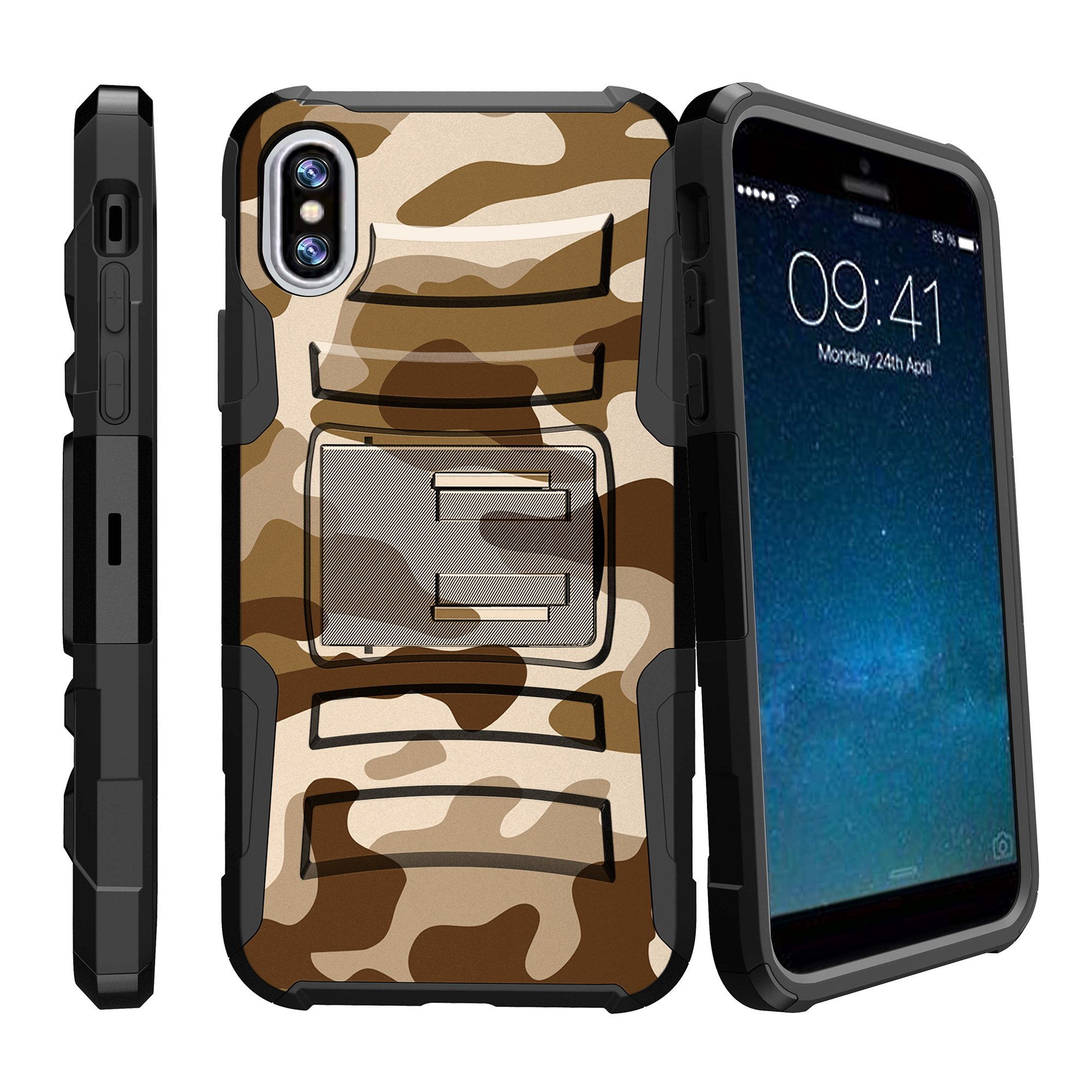 iPhone X Case, iPhone X Hybrid Cover [Clip Armor] iPhone X Holster Case | Durable Protective Case for iPhone X w/ Belt Clip and Built-Kickstand - Brown Camouflage