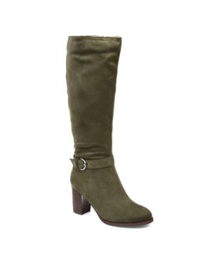Brinley Co. Womens Comfort Extra Wide Calf Side Strap Riding Boot