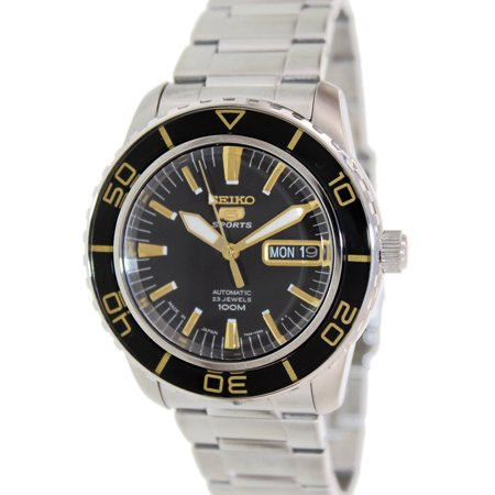 Seiko Men's 5 Automatic Black Face Stainless-Steel Self Wind Fashion Watch (Seiko Yellow Bracelet)