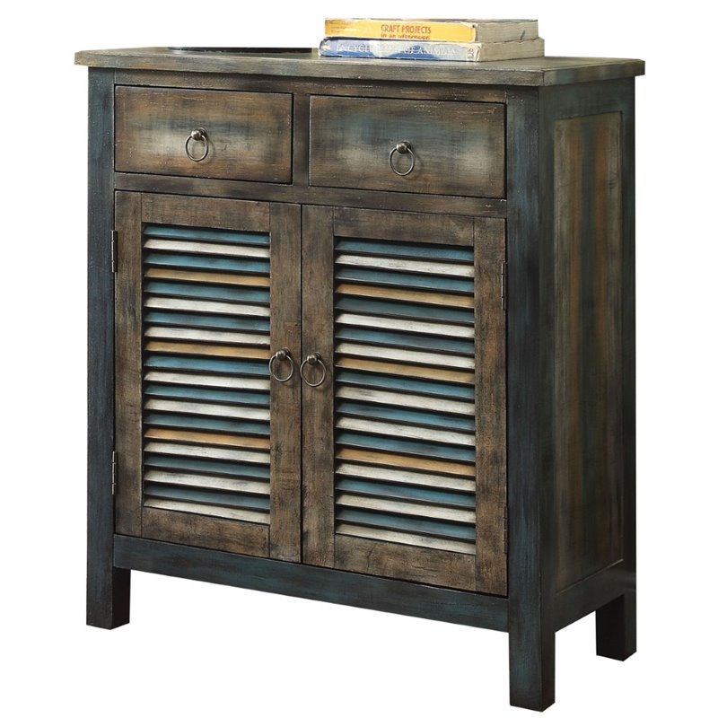 Bowery Hill Console Table in Antique Oak and Teal