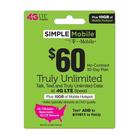 Simple Mobile $60 TRULY UNLIMITED 4G LTE** Data, Talk & Text 30 Day Plan w  10GB of Mobile Hotspot (Video typically streams at DVD quality)  (Email