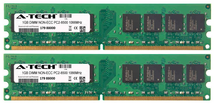 2GB Kit 2x 1GB Modules PC2-8500 1066MHz NON-ECC DDR2 DIMM Desktop 240-pin Memory Ram