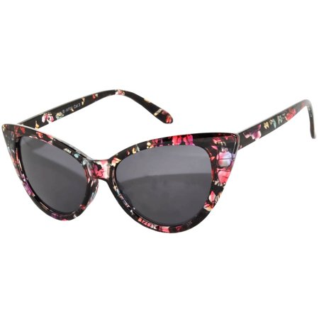 OWL Eyewear Cat Eye Sunglasses Floral Black Frame Smoke Lens - Make Your Own Sunglasses