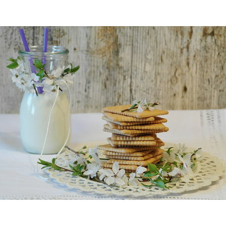 Butter Biscuits Milk Cookies Glass Of Milk Glass Poster Print 24 x 36 (Cookie And Glass Of Milk Halloween Costume)