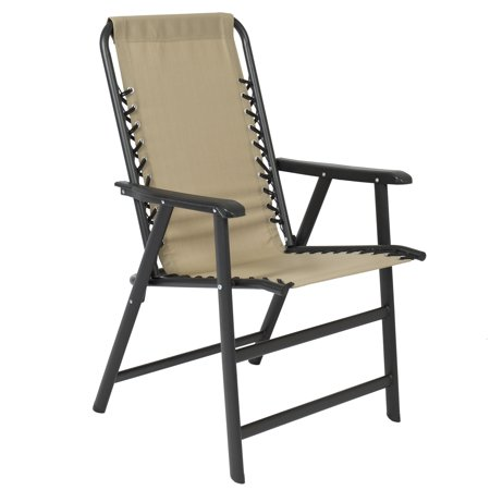 Best Choice Products Outdoor Folding Mesh Patio Sport Lounge Suspension Chair with Steel Frame, Beige ()