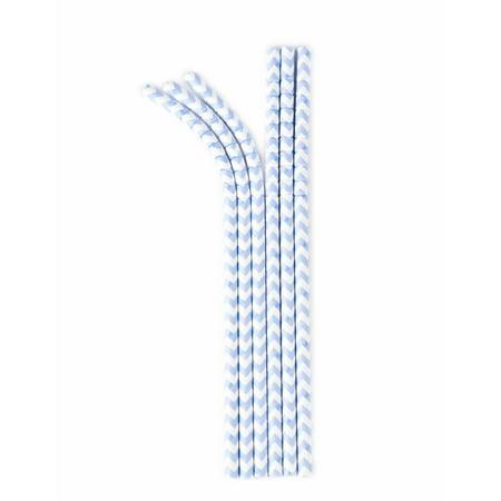 Aardvark Eco-flex Paper Straws, Powder Blue Chevron, 24 (Candy Powder Straws)