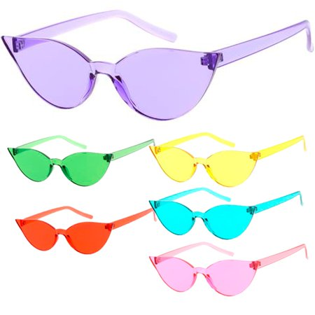 MLC Eyewear Cat Eye Frame Less Frame Candy Lens 70s Retro Fashion Sunglasses](70s Candy)